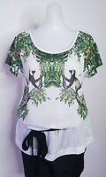 H&M Conscious collectiion Tee TShirt  Size S Multi Color Monkeys Print Women's