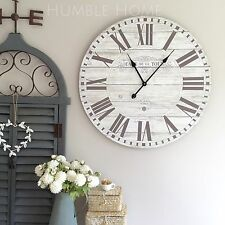 Large 70cm Vintage Rustic White Wall Clock/French Provincial/Hampton's/Neutral