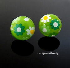 Retro Green White Flower Dots Button Earrings Sterling Silver Posts and Backs