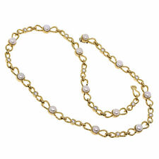 a514a02e1928 18K Yellow Gold 5.5MM Pearl Diamond Bow Tie Link Necklace 16.5