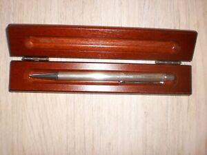 Kugelschreiber silber, 925 er, 40 Jahre IG Metall, in Holzbox, vmtl. nie benutzt