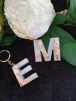 White,gold, blue Acrylic resin Letter Personalised Key Ring,School Bag Tags,Bag