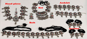 Belly dance Set / Vintage Tribal Necklace Earring Armlet Anklet Belt Head Piece