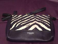 Authentic Coach Legacy Candace Purple Zebra Print Leather Clutch Bag Purse
