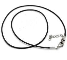 2x Halskette Baumwolle gewachst Schwarz ca. 47cm Verschluss Blei- und Nickelfrei