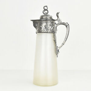 Antique Art Nouveau Silverplated Metal & Glass Claret Jug Wine Decanter by WMF
