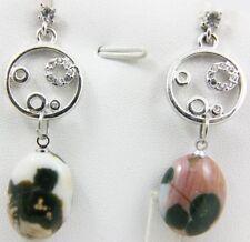 Natural OCEAN JASPER  cabochon stud dangle earring 13mm(w) x 17mm(l)