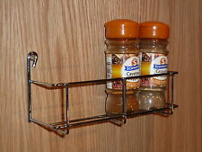 ONE PAIR - 1 TIER x 200mm SPICE RACK CHROME -  KITCHEN CUPBOARD STORAGE 2X RACKS