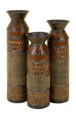 Set/3 Courtyard Rustic Brown N Green Metal Vases NEW