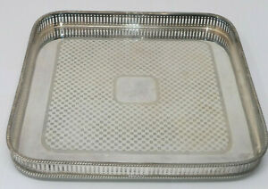Vintage Square Gallery Tea Serving Drinks Tray Silver Plated