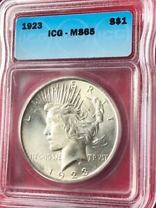 1923 Uncirculated Silver Peace Dollar MS 65 ICG Certified Graded Mint State Coin