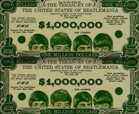 Beatles 1964 Vintage Money Million Dollar Bill Paul John George Ringo NM COA