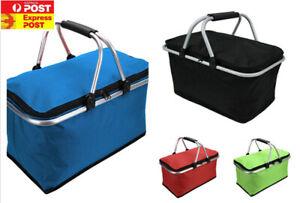 Folding Shopping Picnic Camping Insulated Cooler Hamper Storage Basket Bag Box