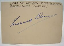 SIGNED LENARE ORIG. AUTOGRAPH VINTAGE LONDON SOCIETY PHOTOGRAPHER LEONARD GREEN