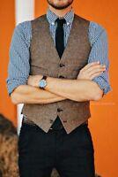 Brown Men's Solid Herringbone Tweed Formal Business Waistcoats Casual Vest