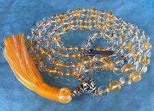 8 mm Citrine & Nirvana Crystal Quartz Mala Beads Necklace, Yellow & White Quartz