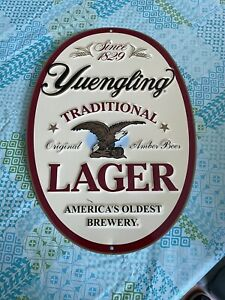 Great Oval Shaped Yuengling Lager Metal Beer Sign 20 Inches Tall