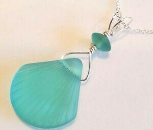 "SeaLife Sea glass jewelry, AQUA GREEN ""Seashell"" beach glass 2"" pendant necklace"