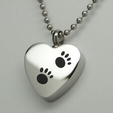Paw Cremation Urn Necklace | Holds Dog or Cat Ashes | Engraveable Keepsake