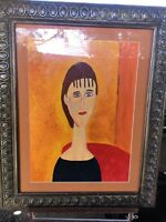 Modigliani School Oil on Paper of Young Lady - Signed A. Garrison
