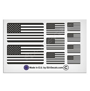 9X USA American flags Black & White Laminated Decals Stickers jeep/custom/hotrod