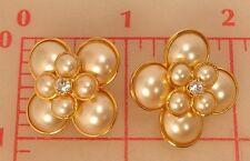 "2 Czech shank buttons gold double layer flower glass pearls & rhinestone 1"" 1083"