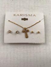 Karisma Gold Tone Rhinestone Cross Necklace and Earring Set - Costume Jewelry