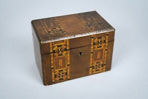19th Century Walnut Marquetry Twin Compartment Tea Caddy