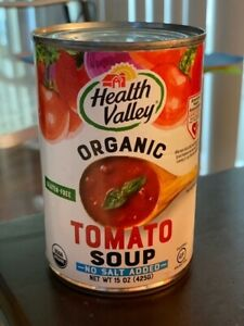 ORGANIC Health Valley Tomato Soup NO SALT ADDED ten 15 oz cans, gluten free