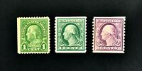 US Franklin Washington 1 Cent and 3 Cent Coil Stamps MH
