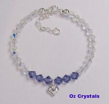Baby Child Bracelet w Heart Charm made with Swarovski & Solid Sterling Silver