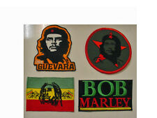 set of 4 CHE GUEVARA + BOB MARLEY EMBROIDERED -IRON ON/ SEW ON  PATCH-new -3""