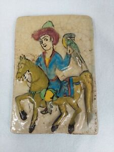 RARE ANTIQUE LARGE 19 C. POLY CHROME PERSIAN TILE MAN ON A HORSE WITH BIRD