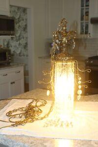 Antique Hanging Pendant Light  Clear Cut Glass Geometric/Brass/Crystal