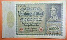 1922 10000 MARK (H) Series GERMANY REICHSBANKNOTE *VAMPIRE NOTE
