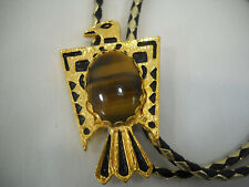 Native American Style Eagle Bolo Tie Gold And Black With Stone Center New