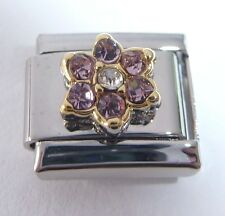 LIGHT PURPLE FLOWER GEM Italian Charm - June Birthstone 9mm Classic Size GEMS