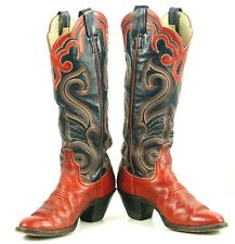 "Larry Mahan Red Black 16"" Tall Cowboy Boots 10 Row Vintage US Made Women's 6.5 B"