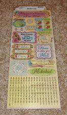Bo Bunny Cardstock Sticker Sheet ~ C'est La Vie....Love You Mom.