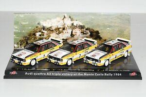 Trofeu Set Audi Quattro A2 Triple Victory Rally Monte-Carlo 1984 1:43 1 of 199!