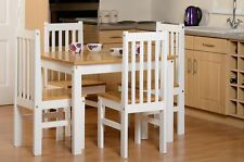 Seconique Ludlow Dining Set in Oak and White - 5 Piece - Country Farmhouse Style