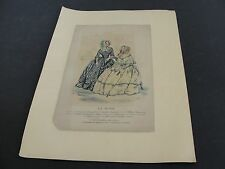 Antique-1800's-La Mode-French Fashion Paris-Hand Colored Lithograph Matted Print
