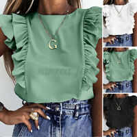 Women Summer Blouse Shirt Basic Vest Tops Sleeveless Asymmetric Ruffle Plus Size