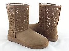 UGG Australia Classic Short Flora Perf Chestnut Brown Fur Boots Size 9 *NIB*