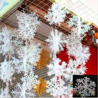 30pcs White Snowflake Plastic Ornaments Christmas Holiday Party  Xmas Decor
