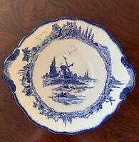 Vintage Royal Doulton Norfolk Cake  Plate Blue Windmill