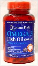 Puritan's Pride Omega-3 Fish Oil 1000 mg 100 softgels New Sealed Free Shipping