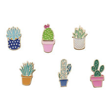 Cactus Pins Clothes Jacket Diy Badge 6 Pcs/set Brooch Colorful Succulents Plant
