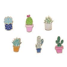 6 Pcs/set Brooch Colorful Succulents Plant Cactus Pins Clothes Jacket DIY Badge