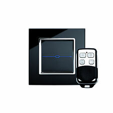 RetroTouch 00020 1 Gang Black Glass Remote Control Touch Light Switch with Fob